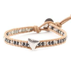 Chan Luu Jewelry - 🦈HEMATINE MIX SINGLE WRAP WITH SILVER SHARK TOOTH