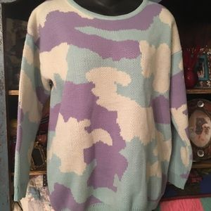 PASTEL CAMO CAMOUFLAGE COTTON BLEND SWEATER NWOT