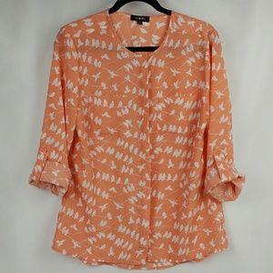 Element Tops - Elementz Bird print coral/peach roll up sleeve top