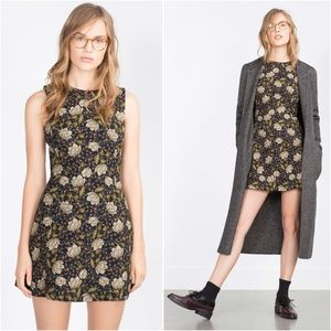 Zara Basic Floral Print Sleeveless Fit Flare Dress