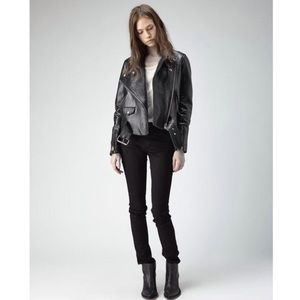 Acne Studios black Leather asymmetric Moto Jacket