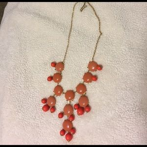 Coral/pink statement bubble necklace