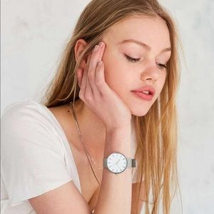 Silver band minimalist mesh watch large oversized