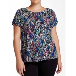 love on a hanger Tops - NWOT 'Twisted Back' Colorful Printed Blouse