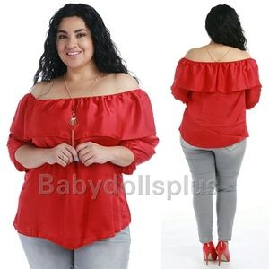 Tops - Plus size red off shoulder top 1x 2x 3x