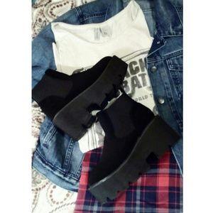 Grunge black platform boots