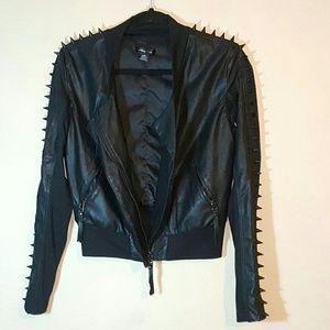 Vintage Jackets & Blazers - Black Vintage Faux Leather Studded Rider Jacket S