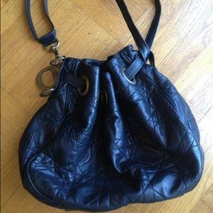 Christian Dior Handbags - Dior Black Cannage Leather Drawstring Tote