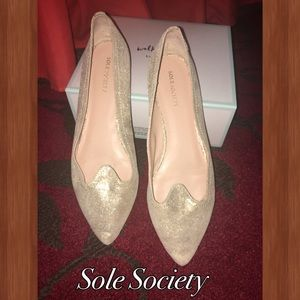 Sole Society Shoes - 🆕Sole Society Gold Shimmer Pointy Flats Sz 8.5/9