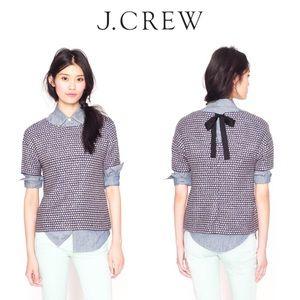 J. Crew Tops - NWT J. Crew Tie Back Top Navy Metallic Tweed