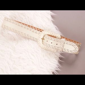 Another Line Accessories - Another Line leather ivory white large buckle belt