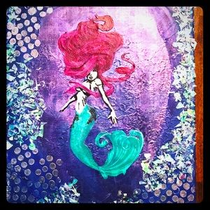 Hand painted mermaid canvas