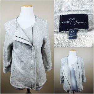 Market & Spruce Jackets & Blazers - Stitch Fix Leiden French Terry Asymmetrical Jacket