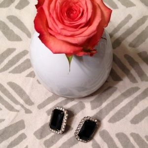 Vintage Jewelry - Vintage Crystal Jet Black Stone Glam Earrings