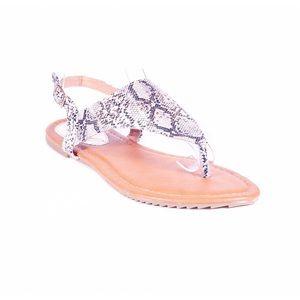 Victoria K Shoes - Women Beige Slingback Thong Flat Sandals S1943