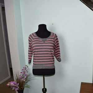 Adorable Pink & Grey Striped Top