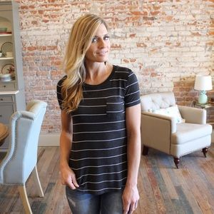 Tops - Charcoal striped tee