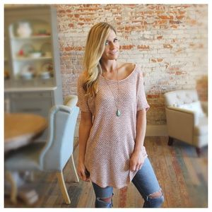 Tops - Blush blended lightweight lace back sweater tunic