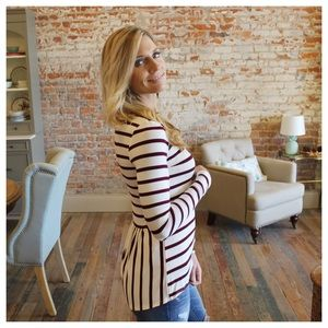 Tops - Wine and ivory striped pleat back high low top