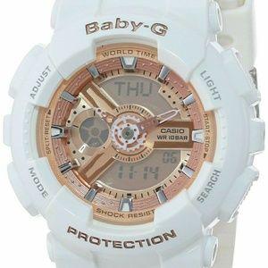 Casio Accessories - White & Rose gold Baby G Shock Watch