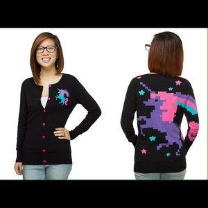 ThinkGeek Sweaters - ThinkGeek 8-Bit Unicorn Cardigan Size L