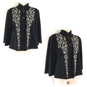 Coldwater Creek Embroidered Floral Cover Up Jacket