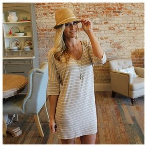 ✨RESTOCKED ✨Beige and ivory striped V neck dress