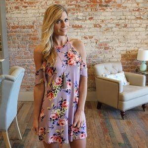 Dresses & Skirts - Cold shoulder lavender floral dress