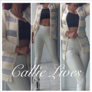 Callie Lives Sweaters - Off White Light Fur Sweater Silver Mesh Cardigan