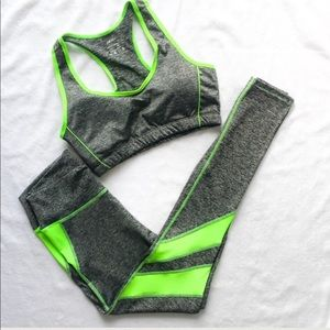 Callie Lives Pants - 2PC🚨LAST🚨 Sports Bra Legging SET Neon Green Gray