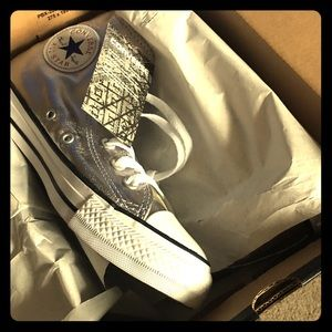 BRAND NEW CONVERSE SILVER HIGH TOPS