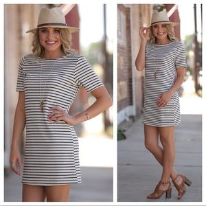 Black and ivory striped knit shift dress