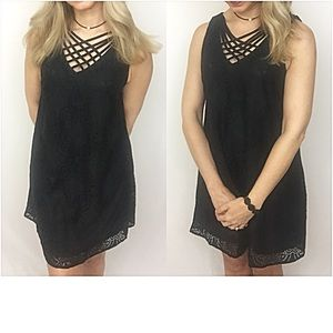 Dresses & Skirts - Criss Cross Lined Lace LBD Tunic Slip Dress SM