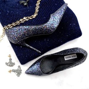 Steve Madden Shoes - Navy Glitter Pointed Toe Pumps