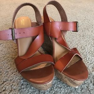 Mossimo Shoes - Brown Strappy Cork Wedges