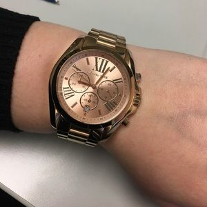 fecd28ab0c14 Michael Kors Accessories - Michael Kors Oversized Rose Gold Bradshaw watch