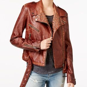 William Rast Jackets & Blazers - William Rast Faux Leather Embellished Moto Jacket