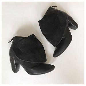 Marsell Shoes - Marsell Leather & Suede Sculpted Heel Booties
