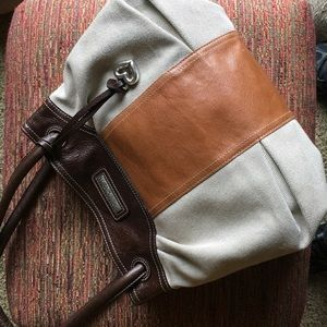 Brighton Handbags - Brighton leather and canvas bag