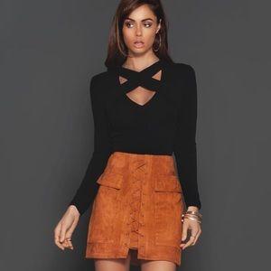 Dresses & Skirts - Lolita High Waist Brown Vegan Suede Lace Up Skirt