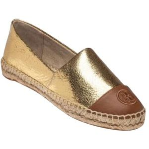 Tory Burch Shoes - Tory Burch Gold and Tan Espadrilles