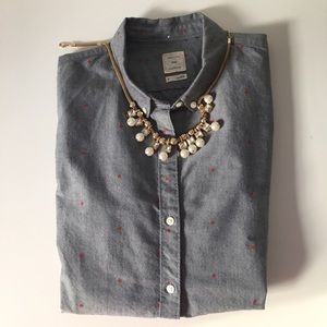 GAP Chambray Red Polka dotted Shirt