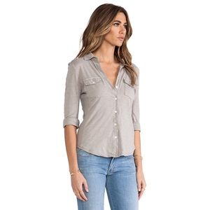 James Perse Tops - Ribbed Panel Button Front Top