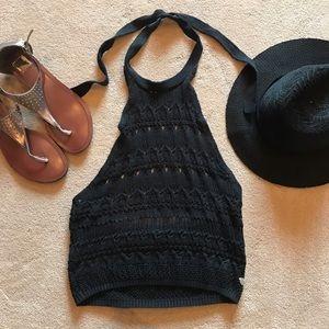 Kendall & Kylie Tops - Black Mesh Knit Halter Crop Top