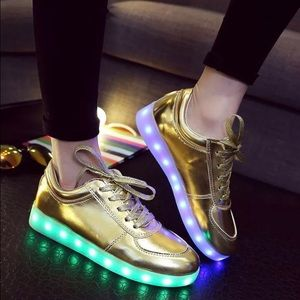 Brand New In Box Gold LED Light Up Sneakers 38
