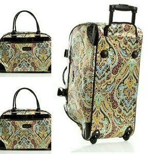 "Kathy Van Zeeland Handbags - Roll on luggage. 22"" bag. Side zipper multicolor"