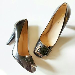 PRADA BLACK SQUARE TOE PUMPS