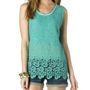NWT Miss Me Peace and Harmony Lace Tank