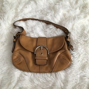 Coach Handbags - Coach leather bag with belt buckle closure & strap