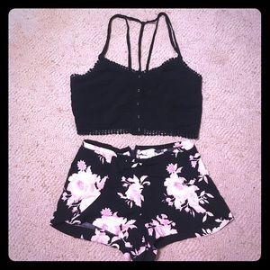 Cute Forever21 Floral Short + Black Crop Top